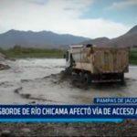 Desborde de río Chicama afectó vía de acceso  a casas