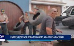 Empresa privada dona 12 llantas a la Policía Nacional