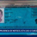 Imprudencia de motociclista casi le cuesta la vida