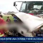 Piura: choque entre una cisterna y camioneta deja un muerto