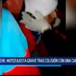 Mototaxista grave tras colisión con una camioneta
