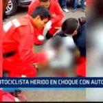 Motociclista herido en choque con automóvil