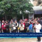 Trujillo: Administrativos UNT queman llantas en protesta