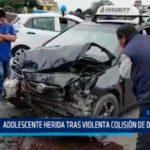 Adolescente herida tras violenta colisión de dos autos