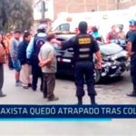 Taxista quedó atrapado tras colisión