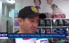 Tras robo, prefecto regional pide mayor patrullaje