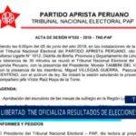 La Libertad: TNE oficializa resultados de elecciones del APRA