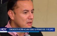 Congresista Acuña aclara sobre su permiso del 13 de junio