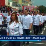 Desfile escolar tuvo como temática a la mujer