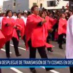 Gran despliegue de transmisión de TV Cosmos en desfile militar