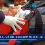 Motociclista mal herido tras accidente de tránsito