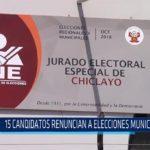 Chiclayo: 15 candidatos renuncian a elecciones municipales