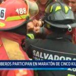 Bomberos participan en maratón de cinco kilómetros