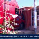 Piura: Tráiler cargado de mercadería se estrella en vivienda