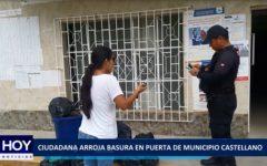 Piura:Ciudadana arroja basura en puerta de Municipio Castellano