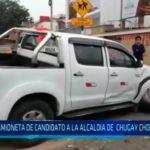 Camioneta de candidato a la alcaldia de Chuguay choca con taxi