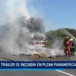 Tráiler se incendia en plena Panamericana Norte