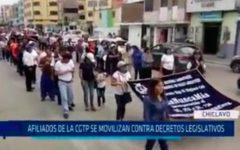 Afiliados de la CGTP se movilizan contra decretos legislativos
