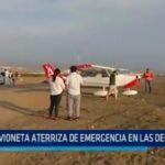 Avioneta aterriza de emergencia en Las Delicias