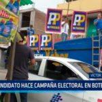 Candidato hace campaña electoral en bote rodante