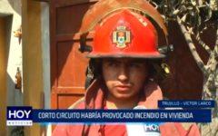 Corto circuito había provocado incendio en vivienda