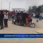 Chiclayo: Queman mototaxi que era usada para robar