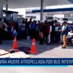 Niña muere atropellada por bus interprovincial