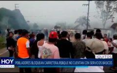 Iquitos: Pobladores bloquean carretera porque no cuentan con servicios básicos