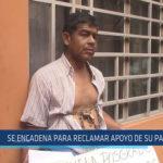Chiclayo: Se encadena para reclamar apoyo de su padre