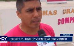"""Colegio """"Los Laureles"""" se benefician con escenario"""