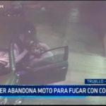 Mujer abandona moto para fugar con compinches