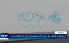 Desadaptados realizaron grafitis en el baluarte de Trujillo