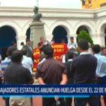 Trabajadores estatales anuncian huelga desde el 22 de noviembre