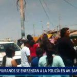 Piura: Transeúntes se enfrentan a la policía por cierre de vía