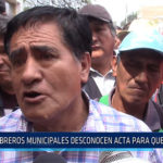 Chiclayo: Obreros municipales desconocen acta par que les paguen