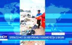Serenazgo ordena a ciudadano irresponsable recoger su basura
