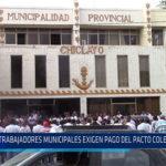 Chiclayo: Trabajadores municipales exigen pago del pacto colectivo 2019