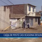 Chiclayo: Caída de poste casi ocasiona desgracia