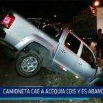 Chiclayo: Camioneta cae a acequia Cois y es abandonada