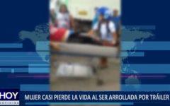 Piura: Mujer casi pierde la vida al ser arrollada por tráiler
