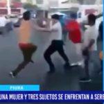 Piura: Una mujer y tres sujetos se enfrentan a Serenos y Policías.