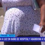 Mujer da a luz en baño de hospital y abandona a su bebé