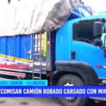 En Sánchez Carrión decomisan camión robado cargado con minerales