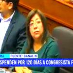 Pleno del Congreso suspenden por 120 días a congresista Foronda