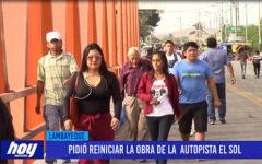 Chiclayo: Pidió reiniciar la obra de la autopista El Sol