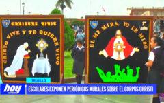 Escolares exponen periódicos murales sobre el Corpus Crhisti