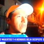 Dos muertos y cuatro heridos tras despiste de una combi en La Libertad