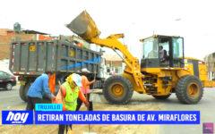 Retiran toneladas de basura de avenida Miraflores