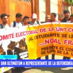 Estudiantes de la UNT dan ultimátum a representante de la Defensoría del Pueblo