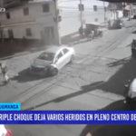 Huamanga: triple choque deja varios heridos en pleno centro de la ciudad
